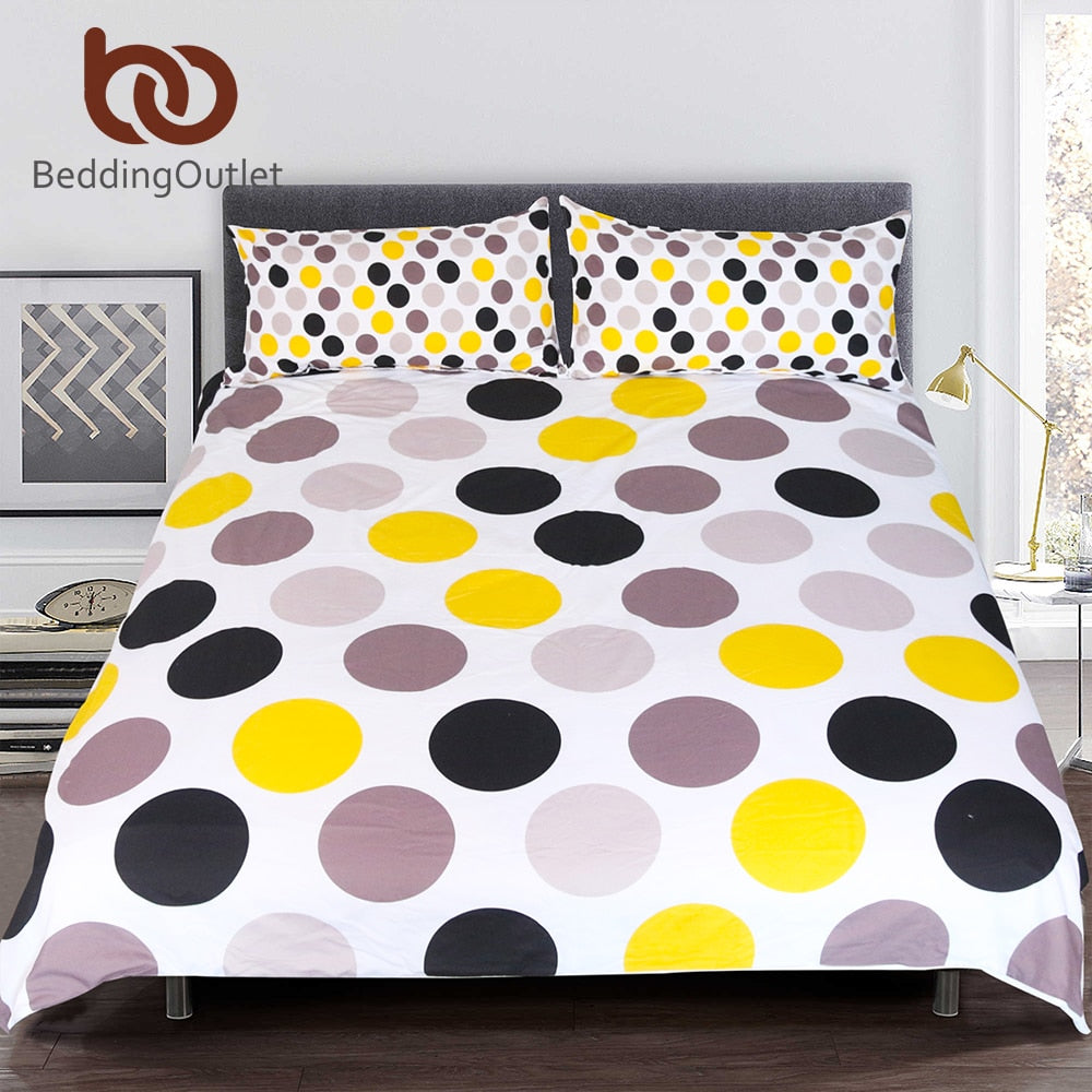 Dropshipful Dots Bedding Set Queen Size Duvet Cover Set Colorful Printed Bedclothes Round Kids Adults Cozy Home Textiles 3pcs - Dropshipful.com