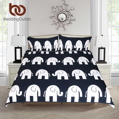 Dropshipful Cartoon Bedding Set for Kids Duvet Cover Elephant Printed Bed Set Gray and Blue Microfiber Classic Bedclothes 3pcs - Dropshipful.com
