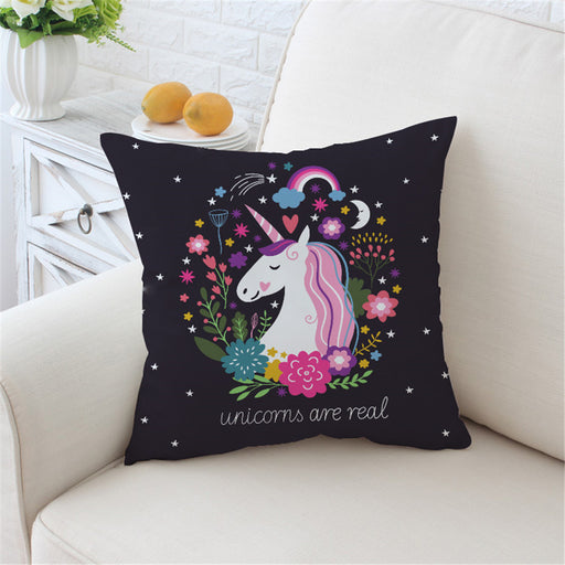 Cartoon Unicorn Cushion Cover Black Pillow Case Floral for Kids Girls Throw Cover - Dropshipful.com