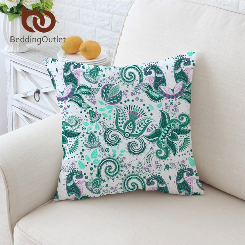 Dropshipful Paisley Cushion Cover Green Floral Pillowcase Sofa Bed Throw Cover Microfiber Decorative Pillow Cover 45x45cm - Dropshipful.com