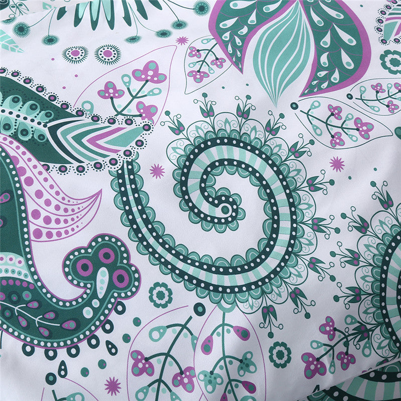 Paisley Cushion Cover Green Floral Pillowcase Sofa Bed Throw Cover Microfiber Decorative Pillow Cover - Dropshipful.com