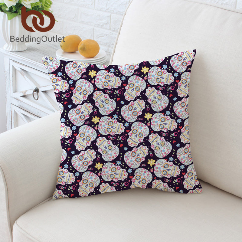 Dropshipful Sugar Skull Cushion Cover Floral Pillow Case Flower Printed Throw Cover Tribal Cool Decorative Pillow Cover 45x45 - Dropshipful.com