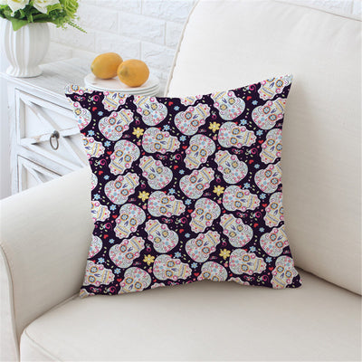 Sugar Skull Cushion Cover Floral Pillow Case Flower Printed Throw Cover Tribal Cool - Dropshipful.com