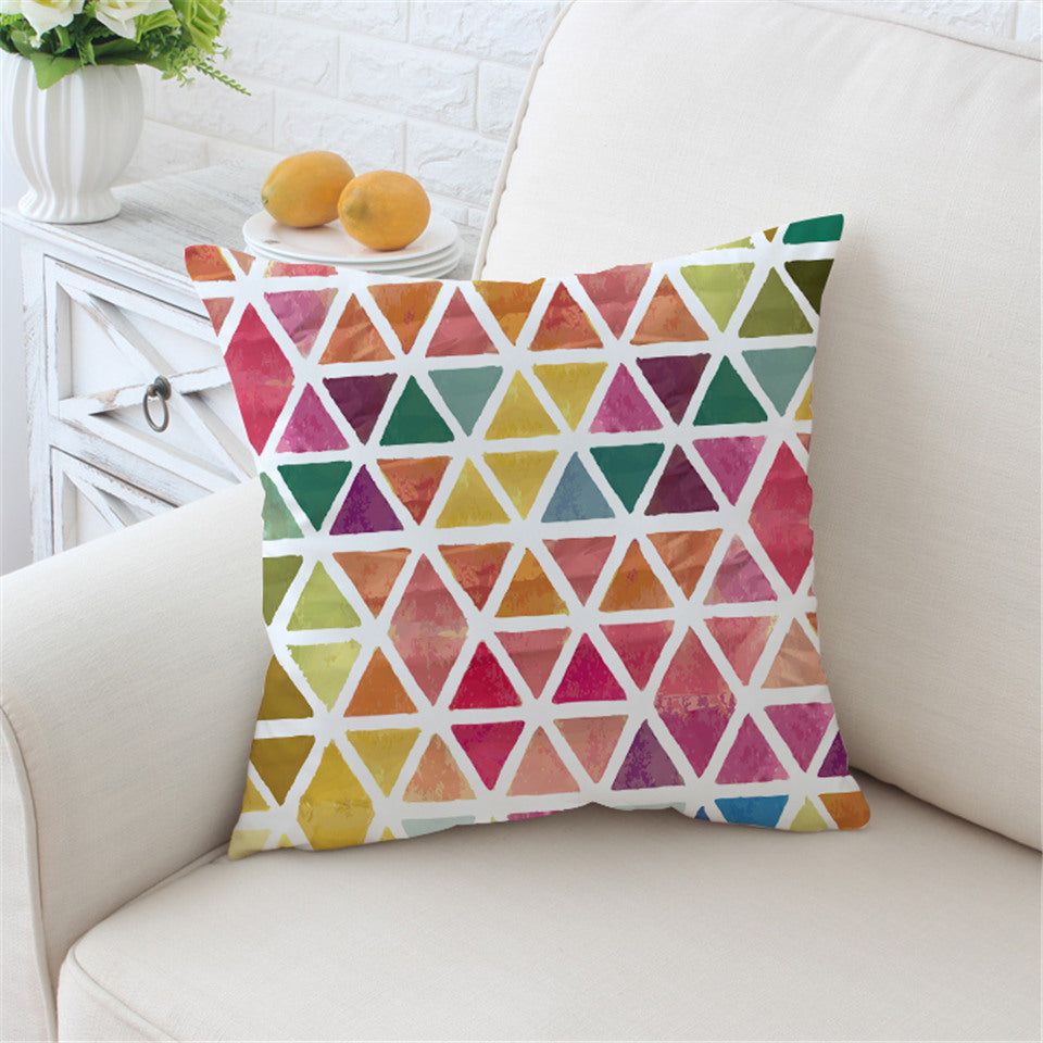 Geometric Cushion Cover Colorful Pillow Case for Sofa Bed Throw Cover Pink Cozy Decorative Pillow Cover - Dropshipful.com