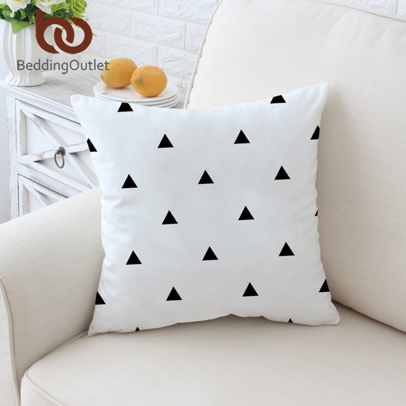 Dropshipful Classical Cushion Cover Geometric Printed Pillow Case Bat White and Black Throw Cover Decorative Pillow Covers - Dropshipful.com