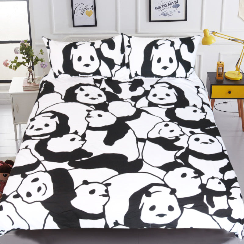 Dropship Cartoon Chinese Panda Bedding Set for Kids Animal Printed Duvet Cover Set 3Pcs - Dropshipful.com