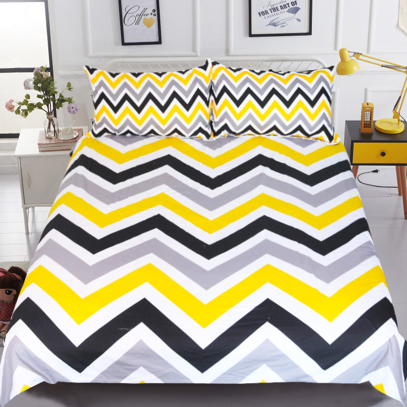 Dropship Geometric Bedding Set Colorful Wave Duvet Cover Set With Pillowcase for Kids 3-Piece - Dropshipful.com