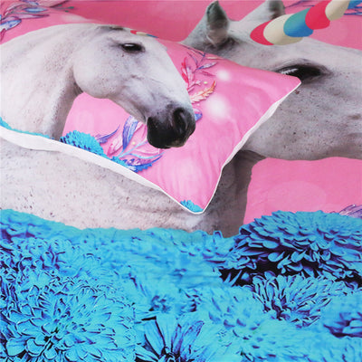 Dropshipful Unicorn Bedding Set Pink and Blue Floral Duvet Cover Set  3-Piece - Dropshipful.com