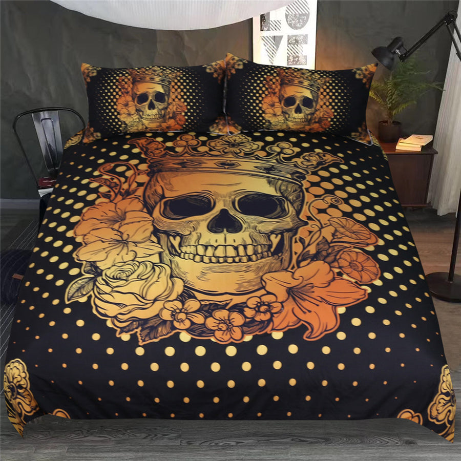 Dropshipful Sugar Skull Bedding Set Floral Golden Duvet Cover 3Pcs - Dropshipful.com