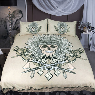 Dropshipful Indian Skull Bedding Set Hatchet Feathers Duvet Cover 3Pcs - Dropshipful.com