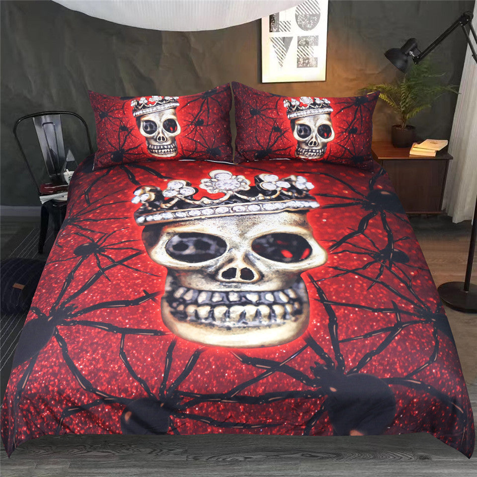 Dropshipful Spider Skull Bedding Set With Queen Crown Duvet Cover Set 3-Piece - Dropshipful.com