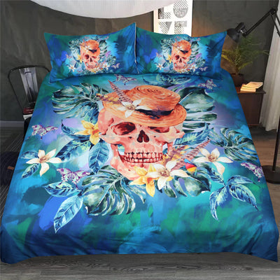 Dropshipful Floral Bedding Set Blue Skull With Hat Duvet Cover 3Pcs - Dropshipful.com