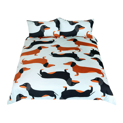 Dropshipful Cartoon Dog Kids Bedding Set Cute Dachshund Sausage Duvet Cover Set 3Pcs - Dropshipful.com