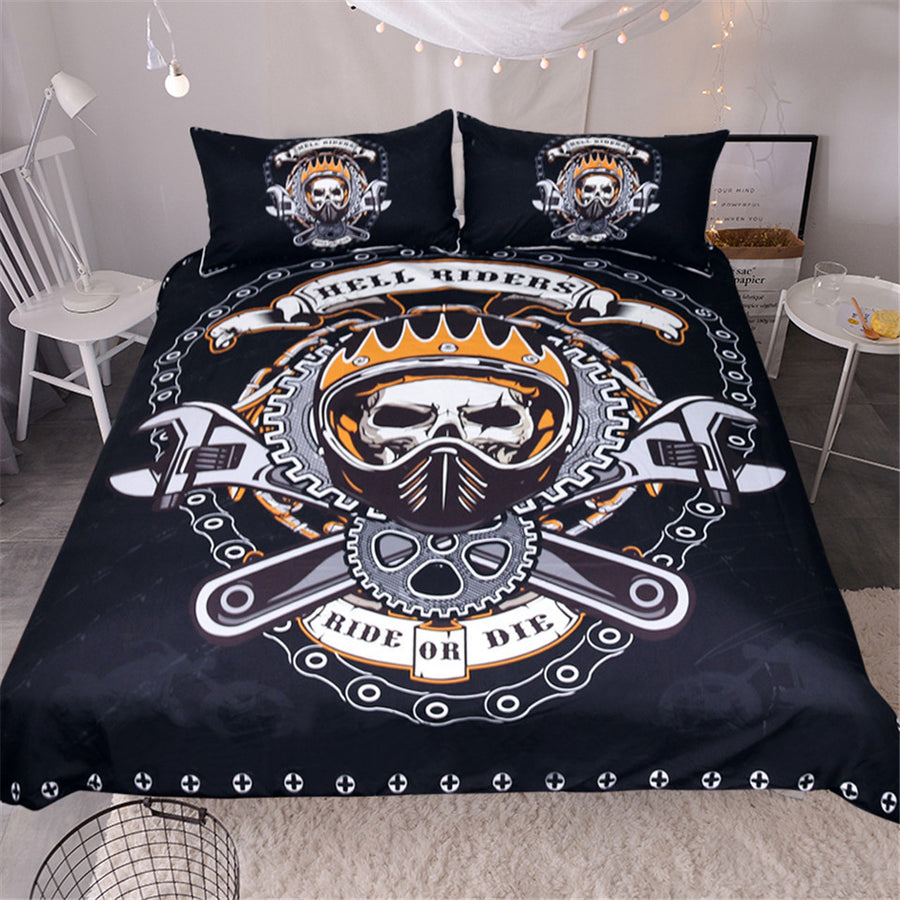 Dropshipful Mechanical Skull Bedding Set Gears Printed Boys Duvet Cover Set 3Pcs - Dropshipful.com