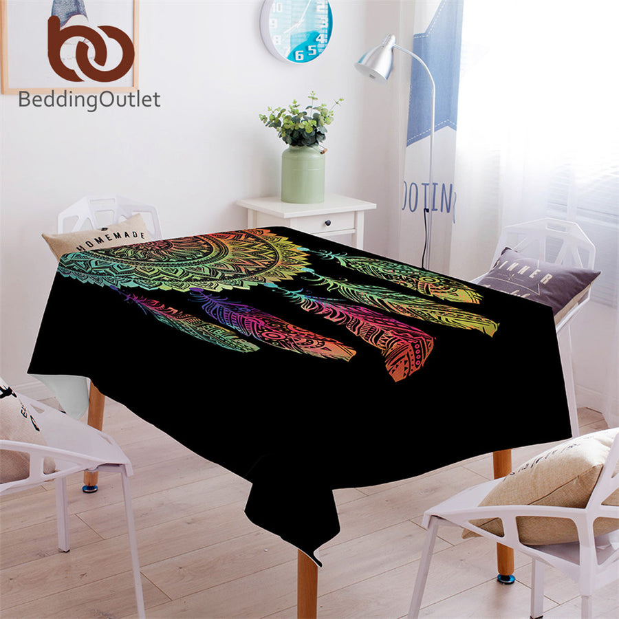 Dropshipful Dreamcatcher Tablecloth Waterproof Boho Dinner Table Cloth Colorful Mandala Decorative Table Cover Rectangular - Dropshipful.com