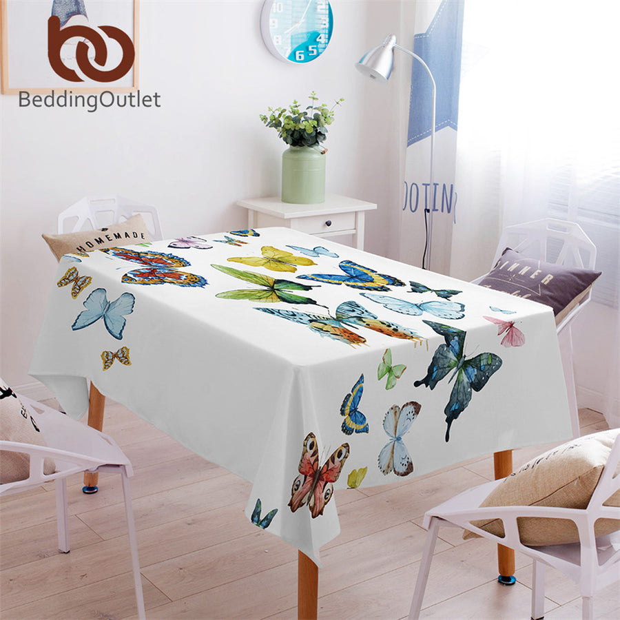 Dropshipful Butterfly Tablecloth Waterproof Dinner Table Cloth Flying Butterflies Decoration Table Cover Pastoral Washable - Dropshipful.com