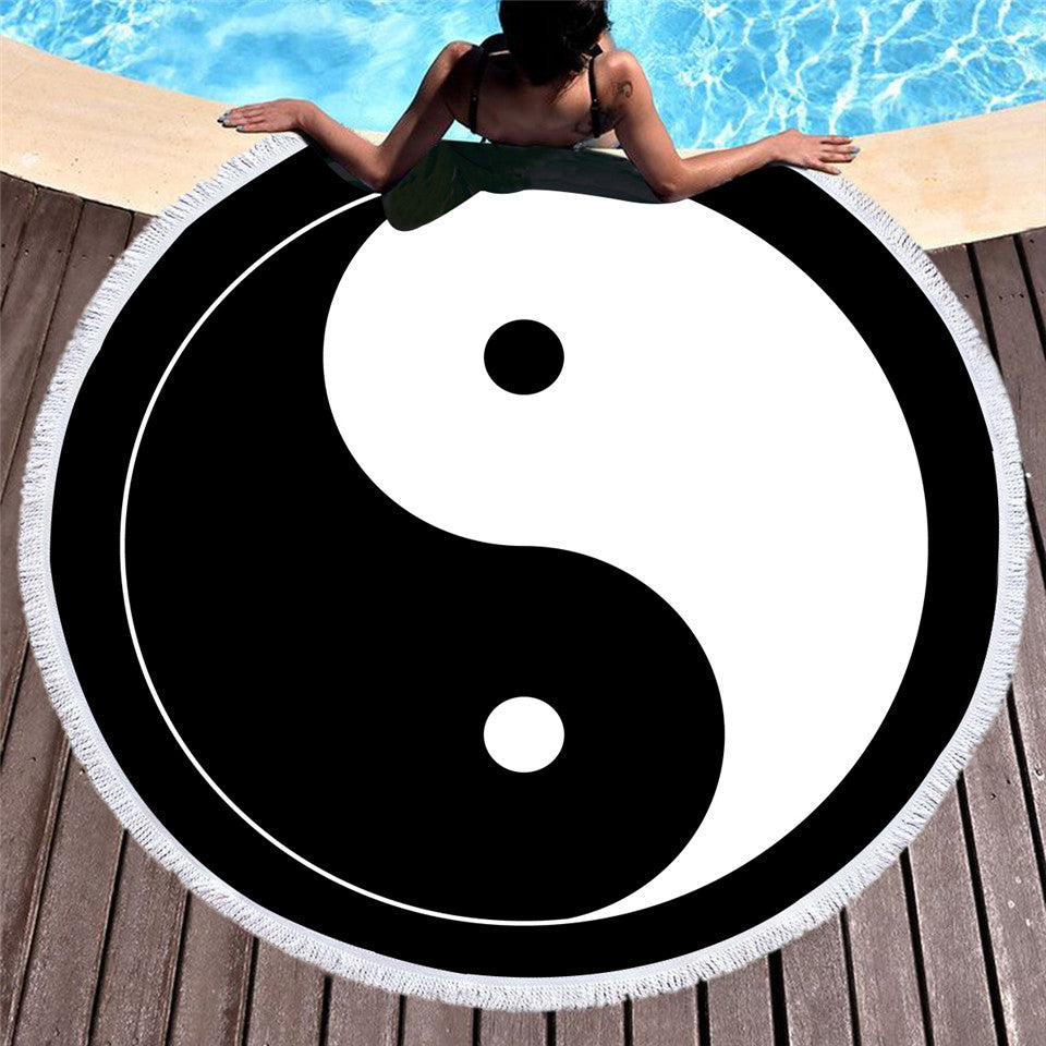 Dropship Tai Chi Round Beach Towel  Microfiber Chinese Style Summer Towel 150cm - Dropshipful.com