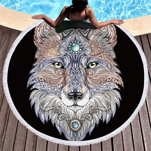 Dropship Microfiber Tattoo Head Wolf Round Beach Towel  Animal Bath Towel 15cm - Dropshipful.com