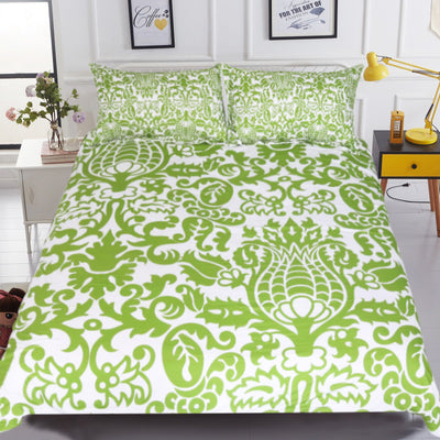 Dropship Green and White Floral Bedding Set Simple Style Duvet Cover With Pillowcase 3-Piece - Dropshipful.com