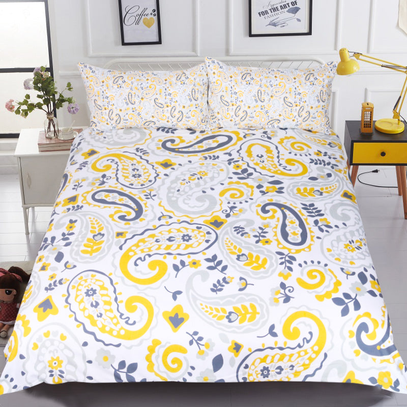 Dropship Paisley Bedding Set Yellow Duvet Cover With Pillowcase Boho Floral Leaf Bed Set 3-Piece - Dropshipful.com