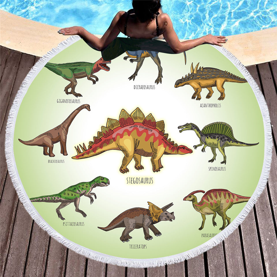 Dropship Cartoon Dinosaur Round Beach Towel Microfiber Large Summer Towel  150cm - Dropshipful.com