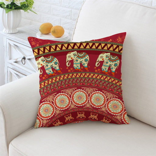 Mandala with Elephant Messenger Cushion Cover Red Bohemia Pillow Cover  Home Decor 45cmx45cm 70cmx70cm - Dropshipful.com