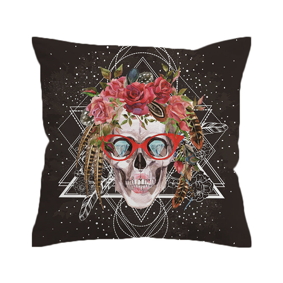 Sugar Skull with Glasses Cushion Cover  Pillow Case Cool Throw Cover Pillow Cover Home Decor - Dropshipful.com