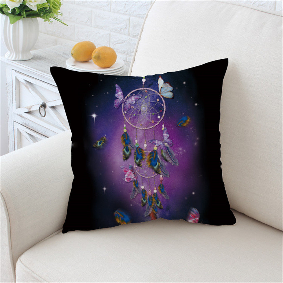 Dreamcatcher Cushion Cover Romantic  Pillow Case Throw Cover Dreamlike Butterfly Pillow Cover - Dropshipful.com