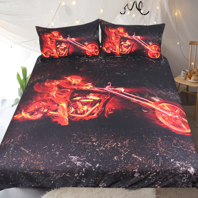 Dropshipful Flame Motorcycle Bedding Set Red And Black Duvet Cover  Bedclothes 3pcs - Dropshipful.com