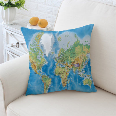 Dropshipful World's Map Cushion Cover Pillow Case Soft Throw Cover - Dropshipful.com