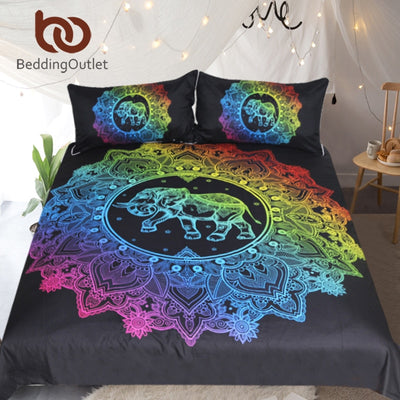 Dropshipful Mandala Elephant Duvet Cover With Pillowcase Colorful Printed Bedding Set Queen Bohemian Bed Set Quilt Cover 3pcs - Dropshipful.com