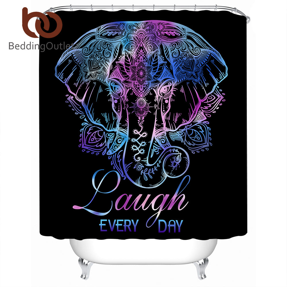Dropshipful Elephant Shower Curtain Bohemian Waterproof Lotus Flower Bathroom Curtain Polyester With Hooks Floral 180x180cm - Dropshipful.com