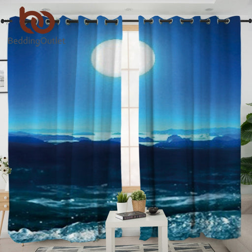 Dropshipful Moon and Sea Curtains for Living Room 3D Printed Decorative Curtain Window Treatment cortina para sala 132x213cm - Dropshipful.com