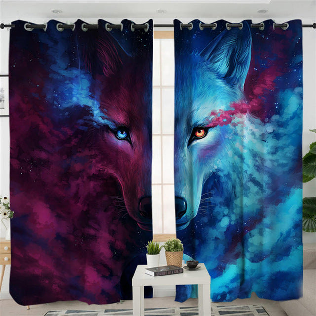 Where Light And Dark Meet by JoJoes Curtains 3d Wolf Living Room Curtain Psychedelic Window Treatment Drapes Home Decor 1/2pcs - Dropshipful.com