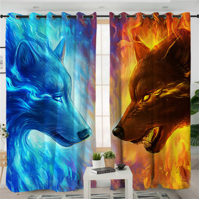 Fire and Ice by JoJoesArt Curtains For Living Room Bedroom 3d Wolf Wolves Curtain Window Treatment Drapes Blue Home Decor 1/2pcs - Dropshipful.com