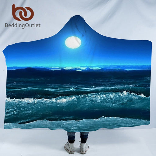 Dropshipful Hooded Blanket 3d Printed for Adults Sofa Moon Sky Sherpa Fleece Wearable Wrap Throw Blanket Microfiber 150x200cm - Dropshipful.com