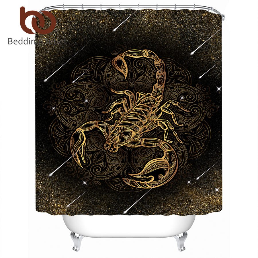 Dropshipful Scorpion Shower Curtain Meteor Scorpio Constellation Waterproof Boho Bath Curtain Vintage With Hooks salle de bain - Dropshipful.com