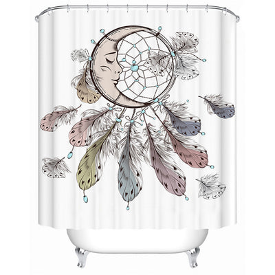 Dreamcatcher Shower Curtain Sleeping Moon Waterproof Decorative  Bohemian Bathroom Decor - Dropshipful.com