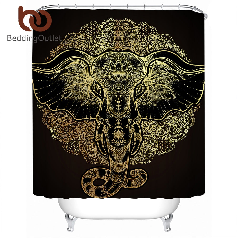 Dropshipful Boho Elephant Decorative Shower Curtain Indian God Ganesha Polyester Waterproof Bathroom Curtain With Hook Tribal - Dropshipful.com
