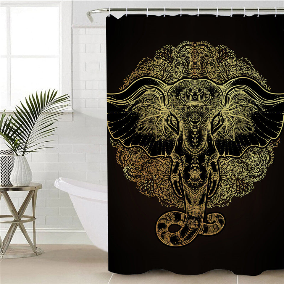 Boho Elephant Decorative Shower Curtain Indian God Ganesha Polyester Waterproof Bathroom Curtain - Dropshipful.com