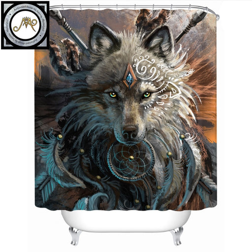 Wolf Warrior by SunimaArt Shower Curtain Waterproof Indian Wolf With Dreamcatcher Bath Curtain With Hooks for Bathroom 180x180 - Dropshipful.com