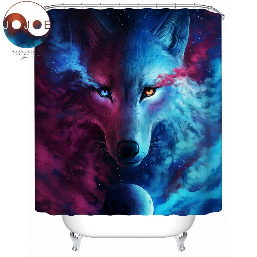 Where Light And Dark Meet by JoJoesArt Shower Curtain 3D Wolf Eye Waterproof Bath Curtain With Hooks Watercolor Bathroom 180x180 - Dropshipful.com