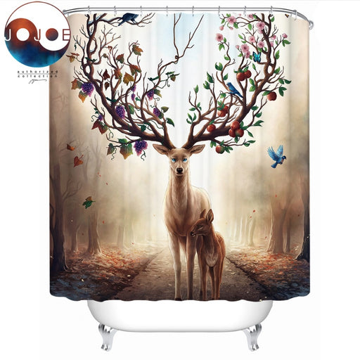 Seasons Change by JoJoesArt Shower Curtain 3D Floral Deer Elk Waterproof Bath Curtain With Hooks for Bathroom Decoration 150x180 - Dropshipful.com