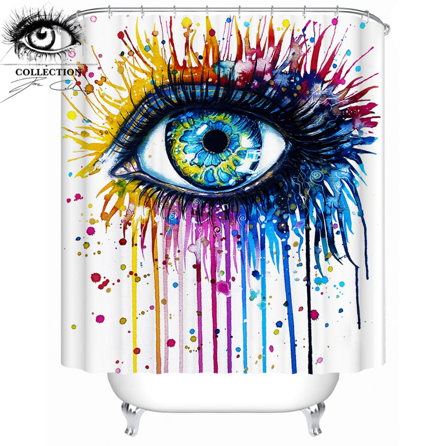 Rainbow Fire by Pixie Cold Art Shower Curtain Colorful Eye Waterproof Watercolor Bathroom Curtain With Hooks 180x180 Home Decor - Dropshipful.com