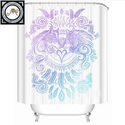 Wolves Heart by SunimaArt Shower Curtain Waterproof Boho Wolf Tribal Bath Curtain With Hooks Bathroom cortina de ducha 180x180 - Dropshipful.com