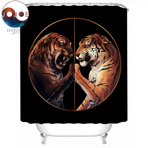 Peace Black by JoJoesArt Shower Curtain Two Tigers Waterproof Bath Curtain With Hooks Peaceful Bathroom cortina de ducha 150x180 - Dropshipful.com