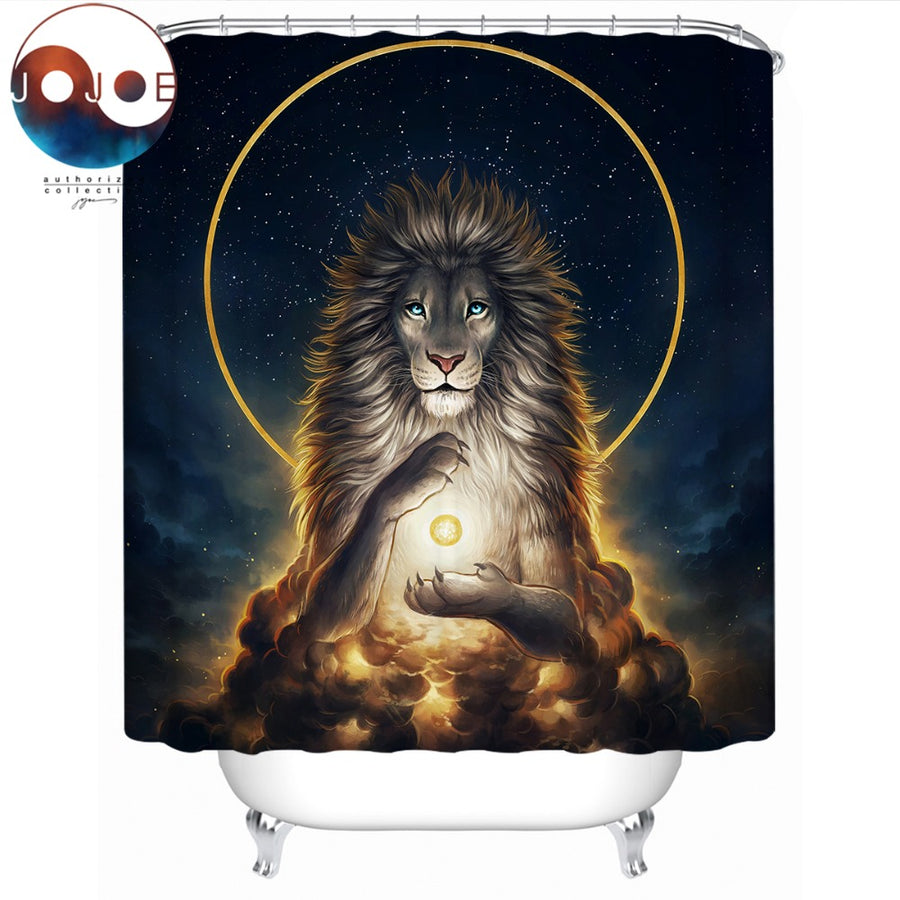 Soul Keeper by JoJoesArt Shower Curtain Lion God In The Sky Waterproof Golden Bath Curtain With Hooks Bathroom rideau de douche - Dropshipful.com