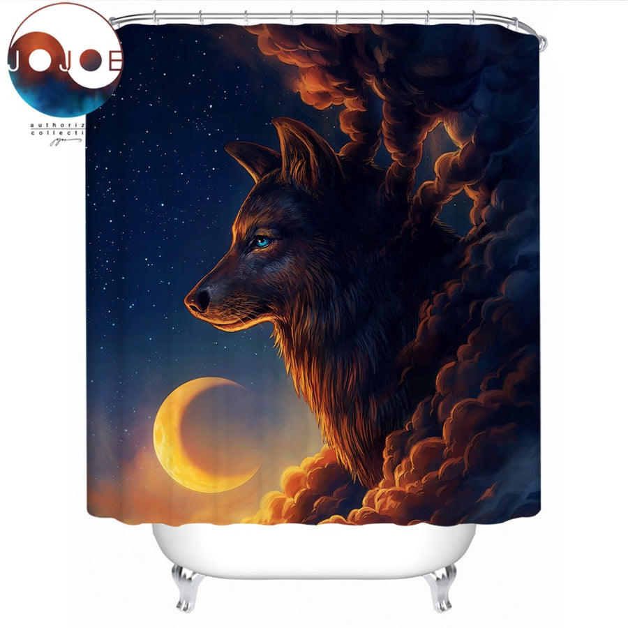 Night Guardian by JoJoesArt Shower Curtain Waterproof Wolf And The New Moon Bath Curtain With Hooks Bathroom rideau de douche - Dropshipful.com