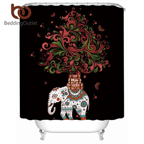 Dropshipful Boho Shower Curtain Polyester Waterproof Indian Elephant Bath Curtain With Hooks Bohemian Bathroom Decoration - Dropshipful.com