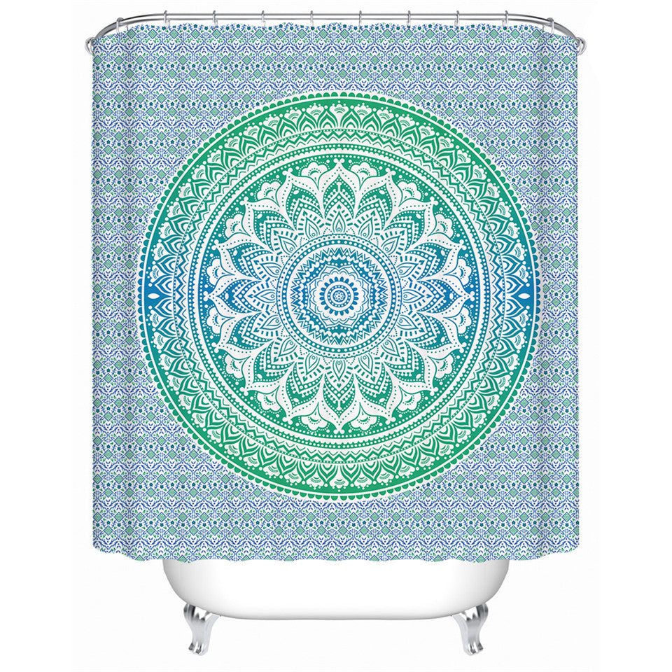 Flower Mandala Shower Curtain Polyester Waterproof Bohemia Green Bathroom Decoration - Dropshipful.com